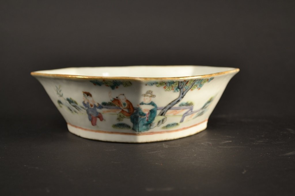 19th century Chinese famille rose dish 7.5 x 2.5