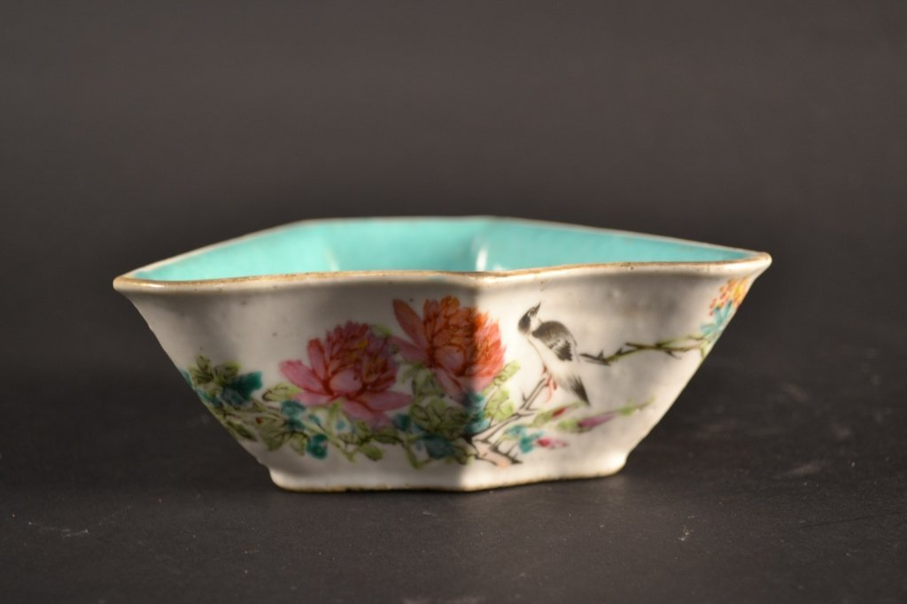 """Chinese famille rose dish with turquoise interior  6"""" x"""
