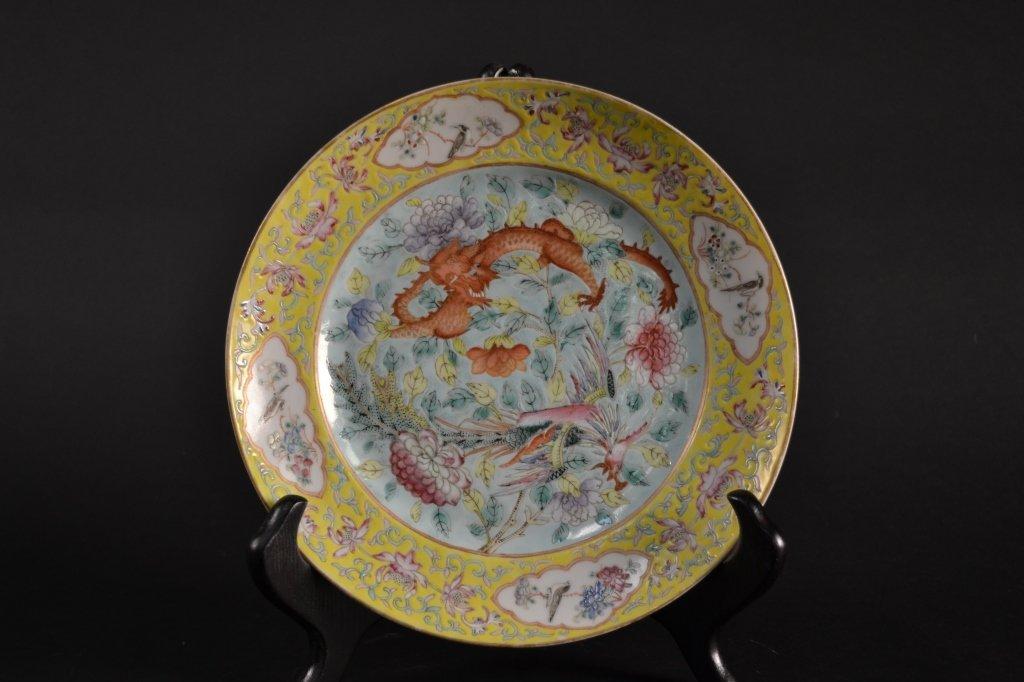 Famille Juane plate, beautiful 19th century yellow  gro