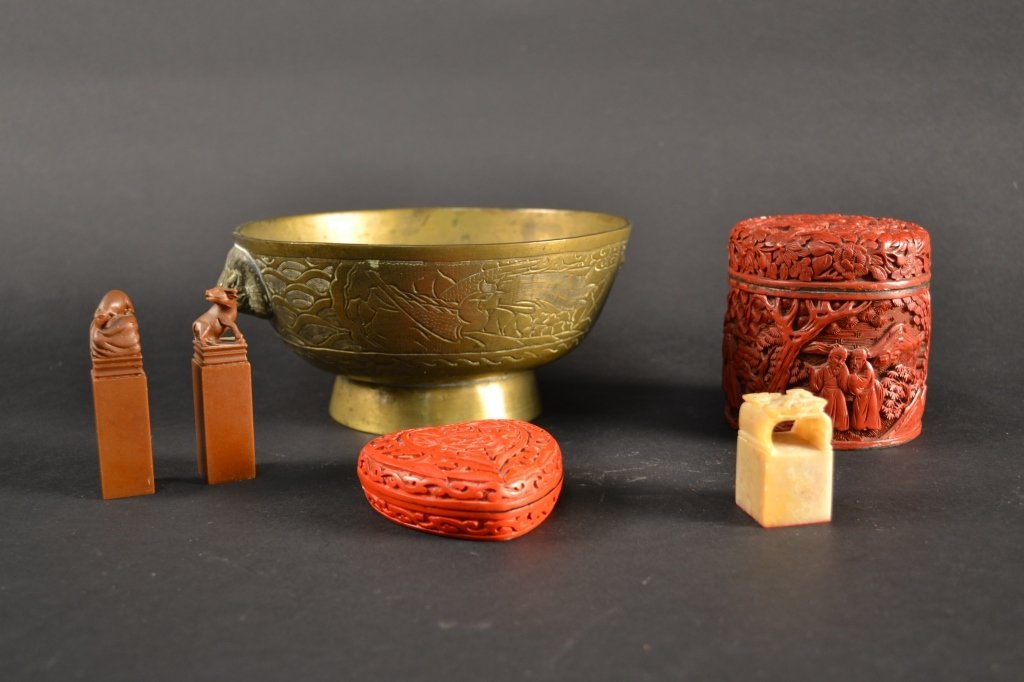 Chinese brass bowl, pair of seals and red lacquer  boxe