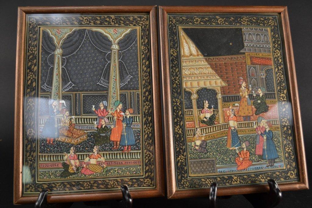 "Pair of Indian paintings on silk 11.5"" x 8.5"""