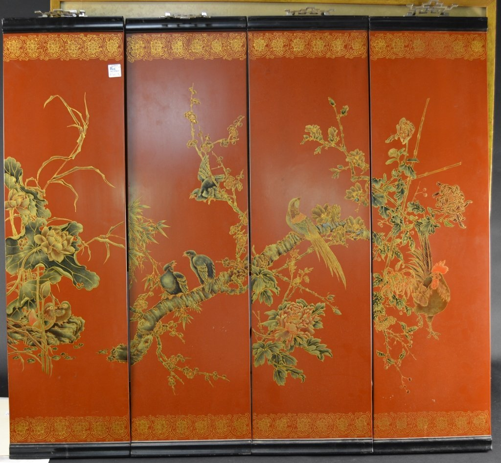 """oriental wall screen lacquered and painted wood.  36"""" x"""