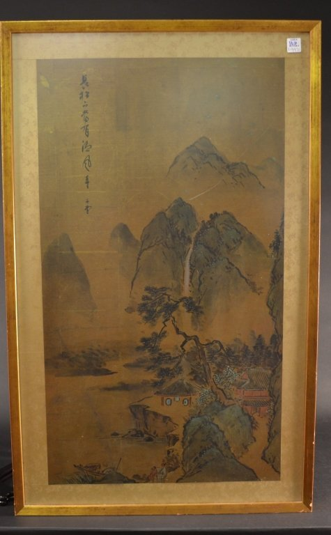 """framed and silk mounted Chinese  painting 23"""" x"""