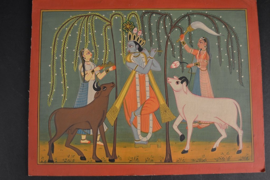 Nice painting of indian deity, possibly krishna