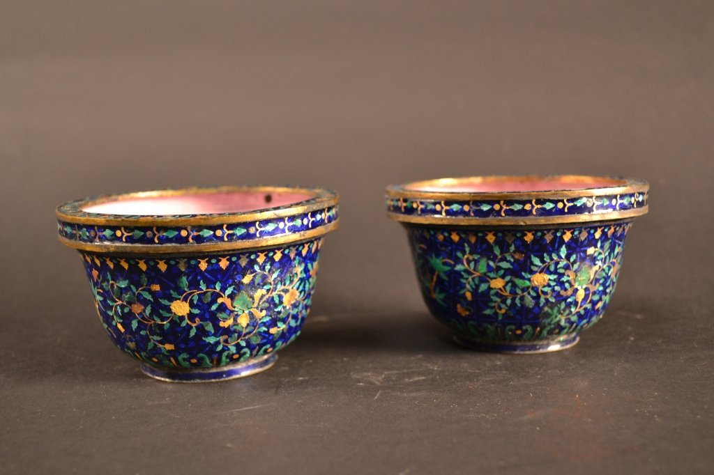 Pair of  fine cobalt blue and gold Chinese enamel  bowl