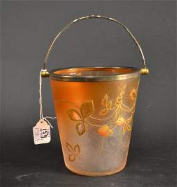 Beautiful Daum nancy acid etched ice bucket,
