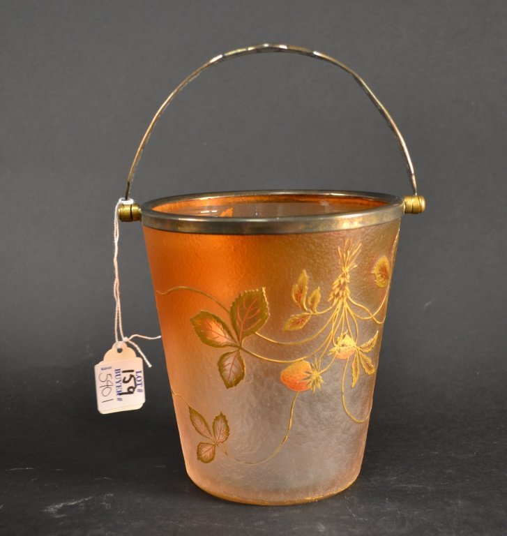 Beautiful Daum nancy acid etched ice bucket,