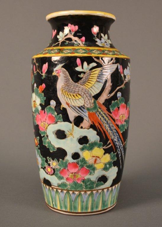"Famille Noire Vase size: 9.5"" tall"