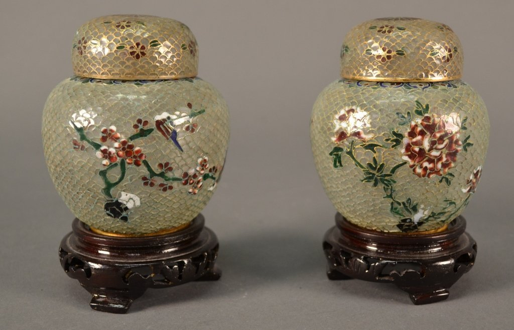"""A pair of Plique a Jour Ginger Jars size: 3.5"""" tall"""