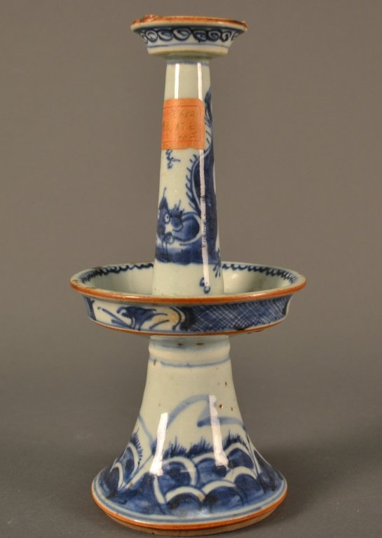 """Blue and White Candlestick size: 9"""" tall"""