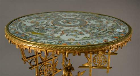 """Antique Chinese Tile Top Table size: 29"""" tall x 21.5"""""""