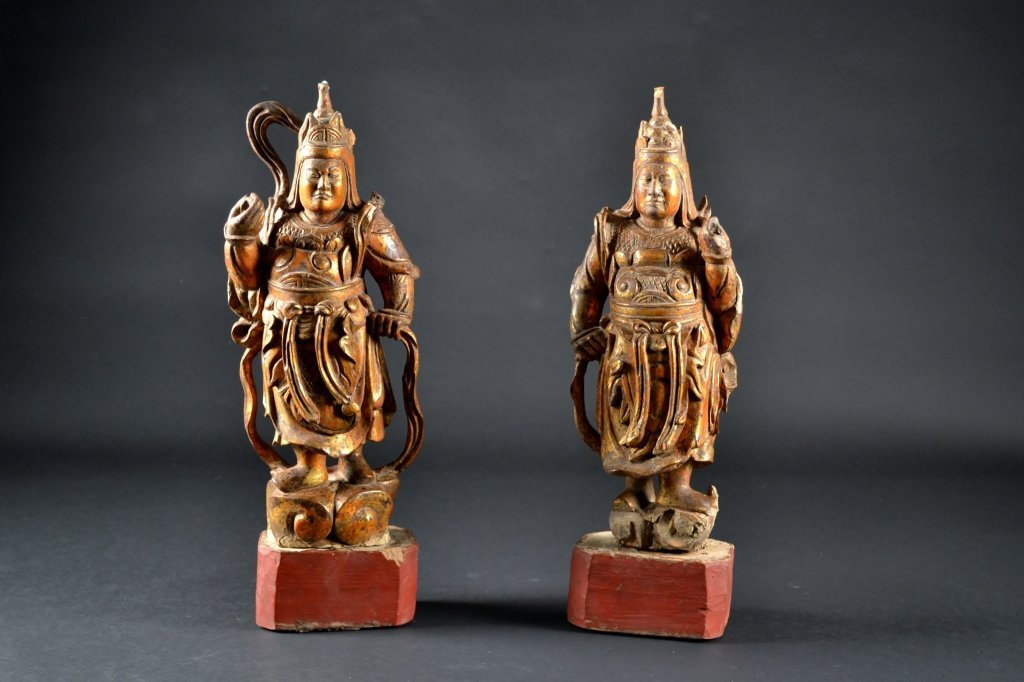 """Pair of Chinese Carved Wooden Figures Size : 16"""" T"""