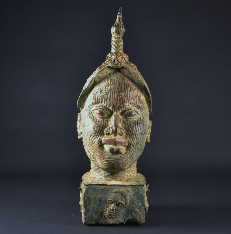 """Large Bronze African Head Size : 24"""" T"""