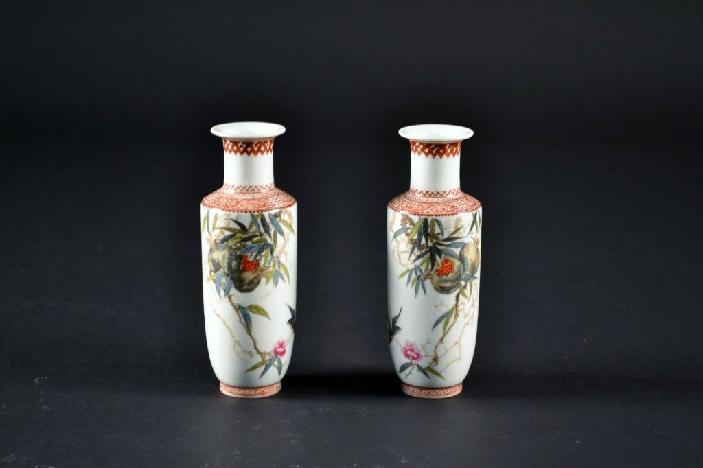 """Pair of Chinese Porcelain Vases Size : 5"""" T"""