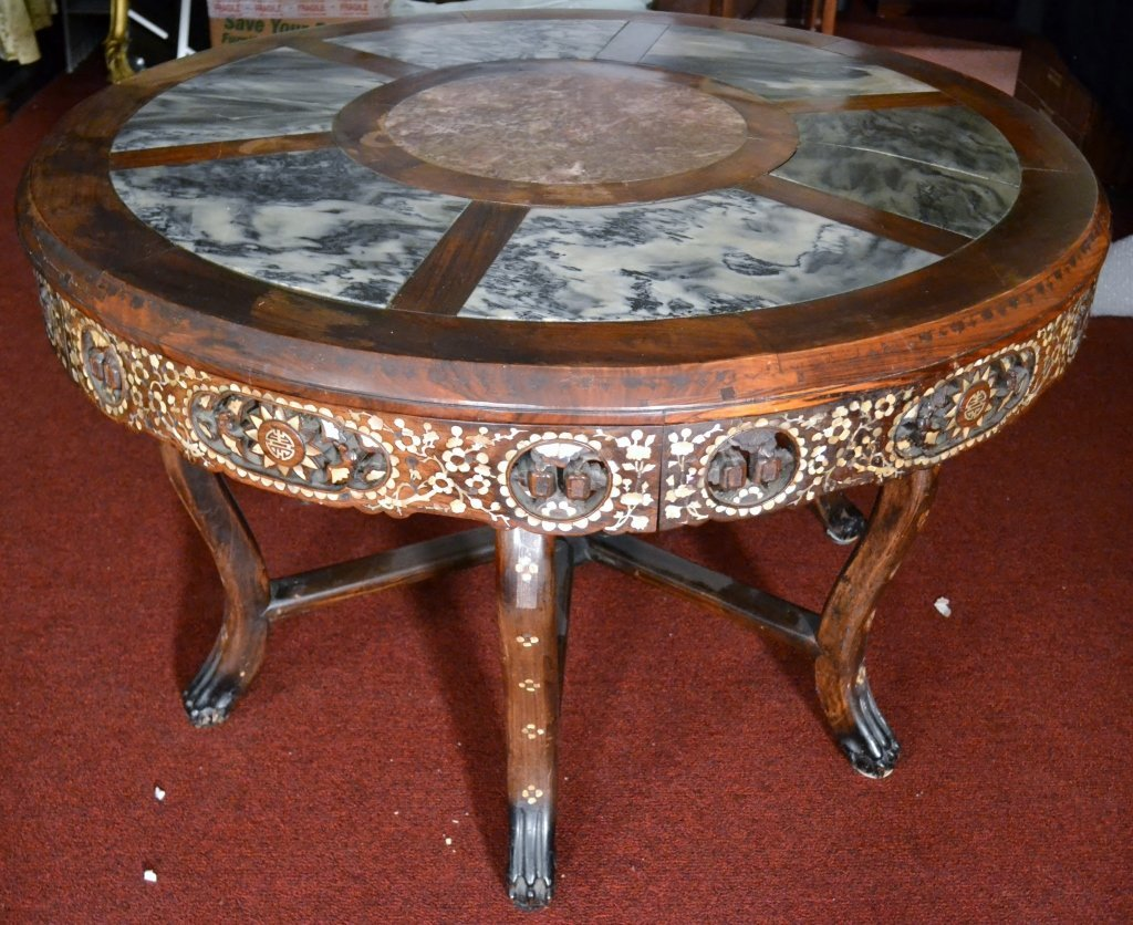 Antique Chinese Carved Wood Table with MOP Inlay Size :
