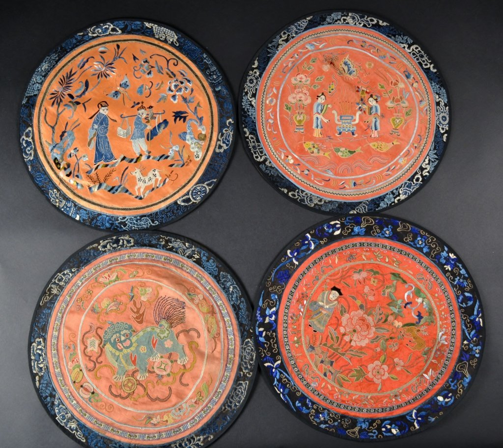 """Grouping of 4 Chinese Silk Embroideries Size : 15 1/4"""""""