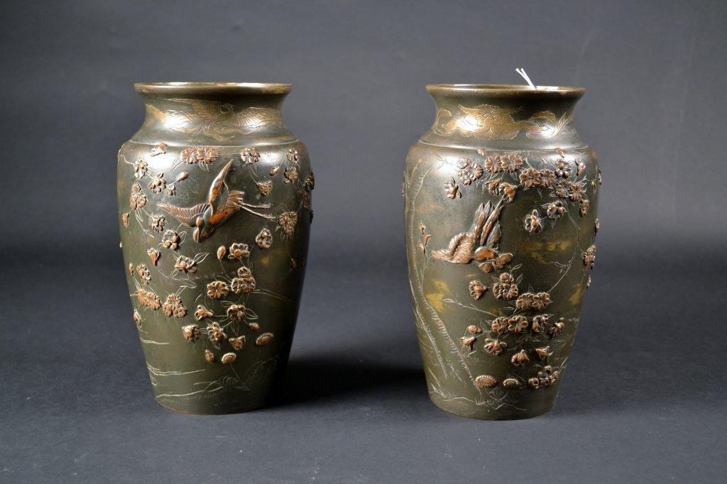 """Pair of Mixed Metal Japanese Bronze Vases Size : 9 1/2"""""""