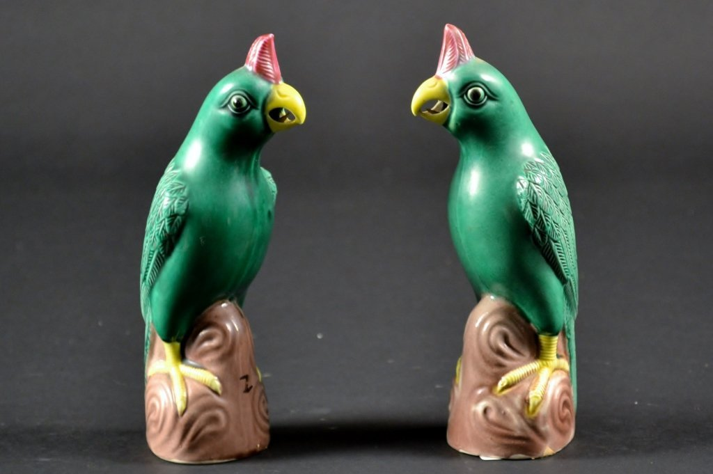"""Pair of Chinese Green Glazed Parrots Size : 6 1/4"""" T"""