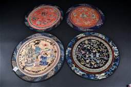 """Grouping of 4 Round Chinese Embroideries Size : 13"""" x"""