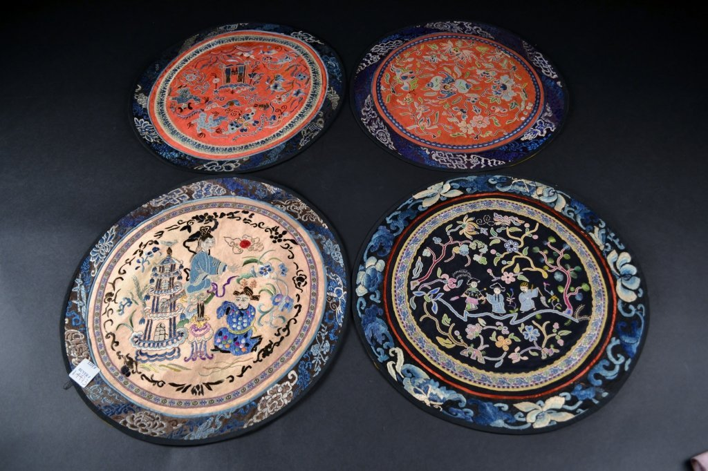 "Grouping of 4 Round Chinese Embroideries Size : 13"" x"