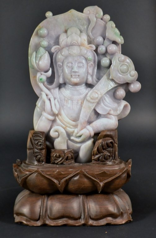 "Chinese Carved Jade Quanyin on Stand Size : 11"" x 8"" on"