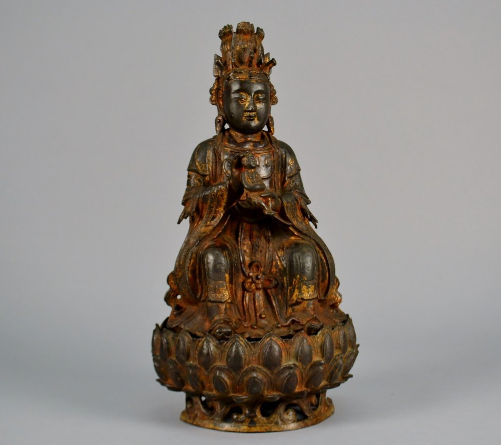 "Chinese Bronze and Gilted Buddha on Stand 16"" tall"