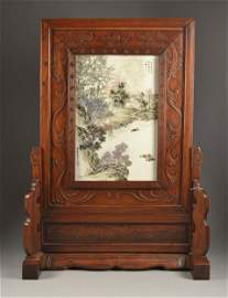 """Chinese Republic Tile in Wood Table Screen Tile 15"""" x"""