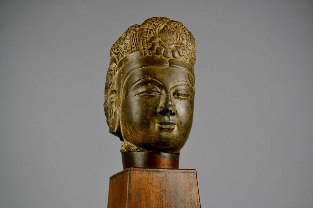 Chinese Tang - Qi Carved Stone Buddha's Head Well