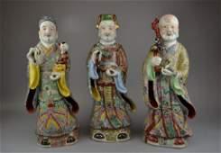 Three Antique Famille Rose Porcelain Figures Republic