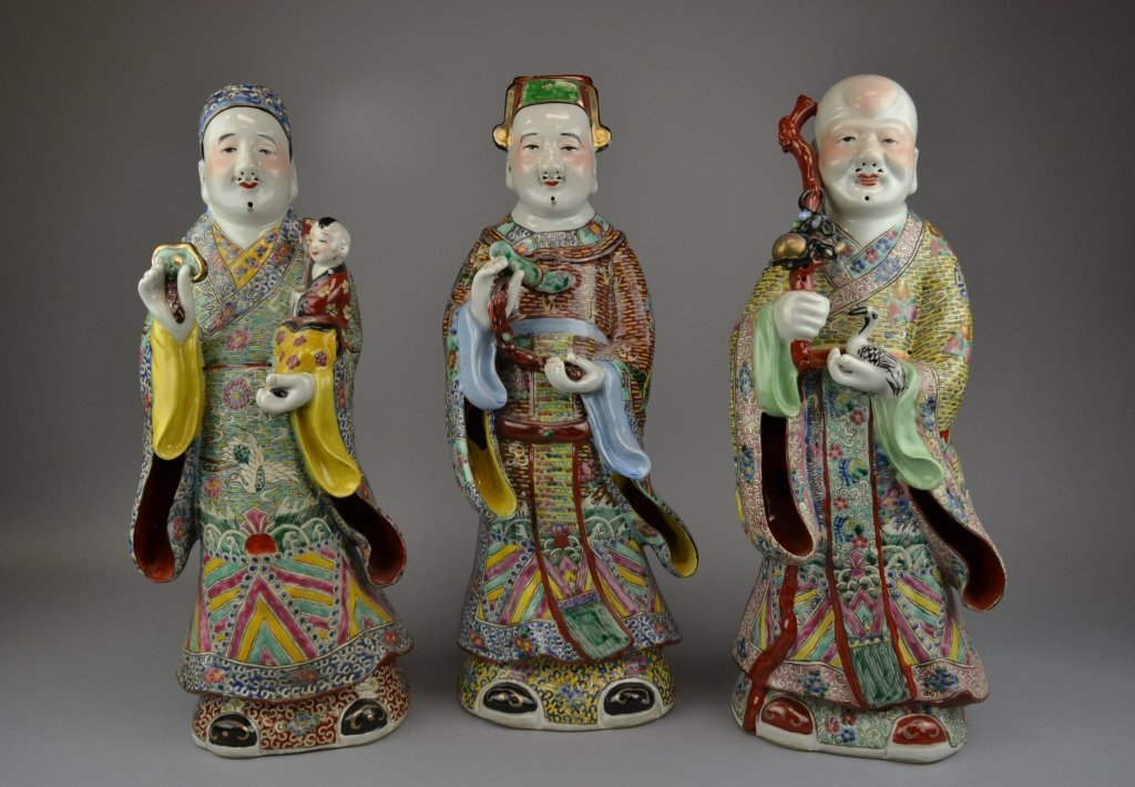 Three Antique Famille Rose Porcelain Figures Republic