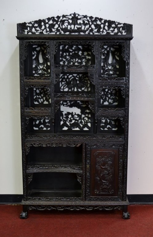 Antique Chinese Carved Wood Curio This is a fantastic