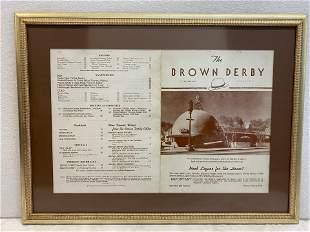 The Brown Derby Menu 2 sided Framed