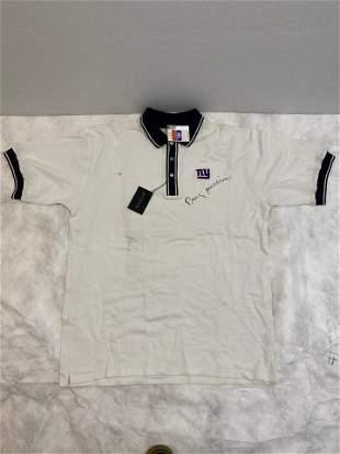 NY Giants NFL Polo Shirt Size Large autograph not