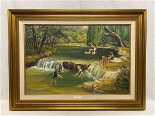 Oil Painting Signed by Frances Griffin Hill Country