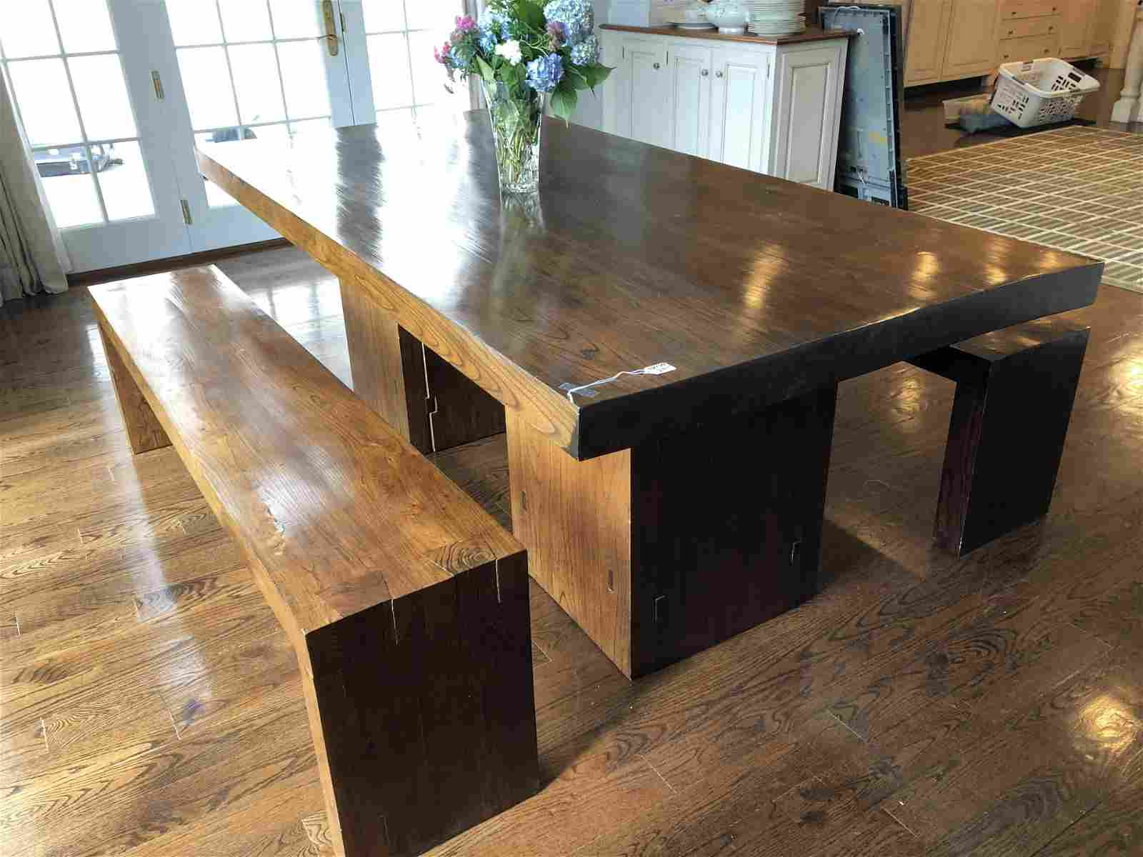 Rare Hardwood Custom Dining Table and Benches