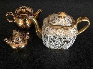 Decorative GoldPorcelain Tea Pot and Small accessories