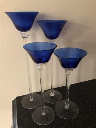 4 English Cobalt Blue Tall Tealight Holders