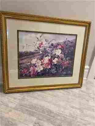 Framed Floral Print wGlass
