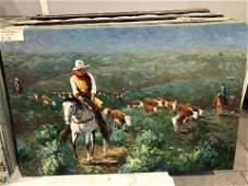 "Carole Hopkins ""Cowboy"" Original Oil on Canvas"