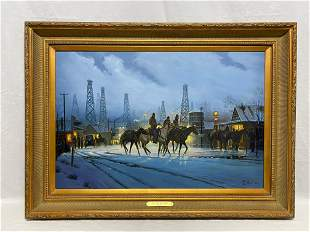 Oil Painting Signed by M Lynn The Meeting Place