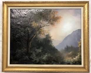 S Cunningham Scene Dark Trees with Morning light