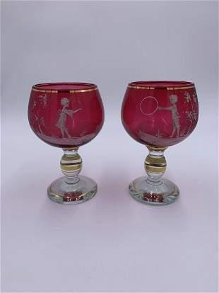 Antique Cranberry Glass Goblets 2pc