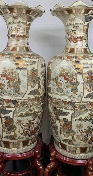 Pair of Large Satsuma Vases