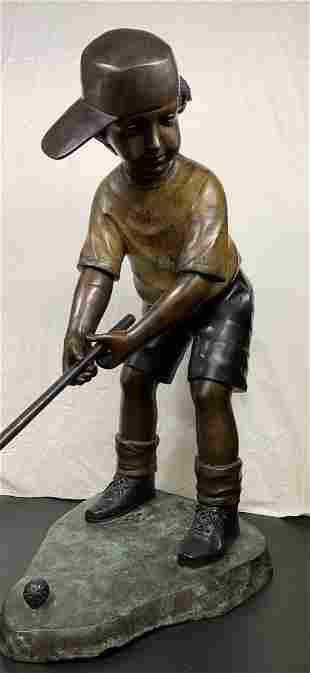 Signed 4ft Bronze Golfer Boy SculptureStatue