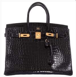 Hermes Birkin 35 Black Shiny Porosus Crocodile/Gold