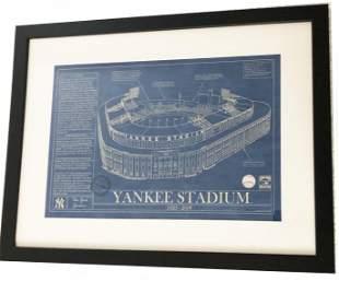 Yankee Stadium Blue Prints Poster Framed