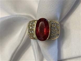 14k Gold Diamond Ring w Ruby