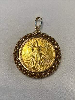 14k Solid Gold American Eagle Liberty Coin With Bezel