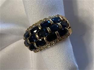 14k Gold Blue Sapphire w Diamonds