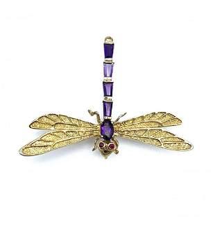 925 Amethyst w/ Garnet Eyes Dragonfly Pin